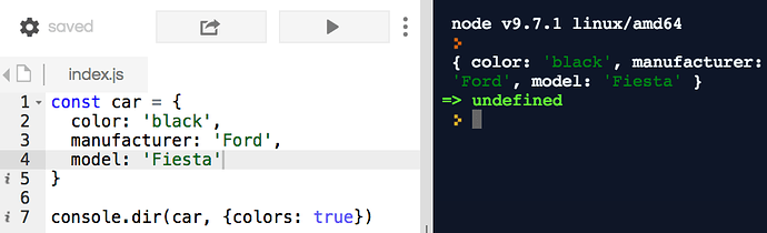 console.dir in Node with colors
