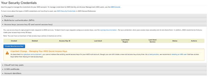 AWS Web console No Root Access Keys