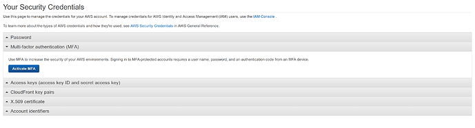AWS Web console Root MFA popup